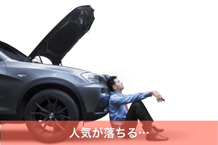 車の前で肩を落とす男性