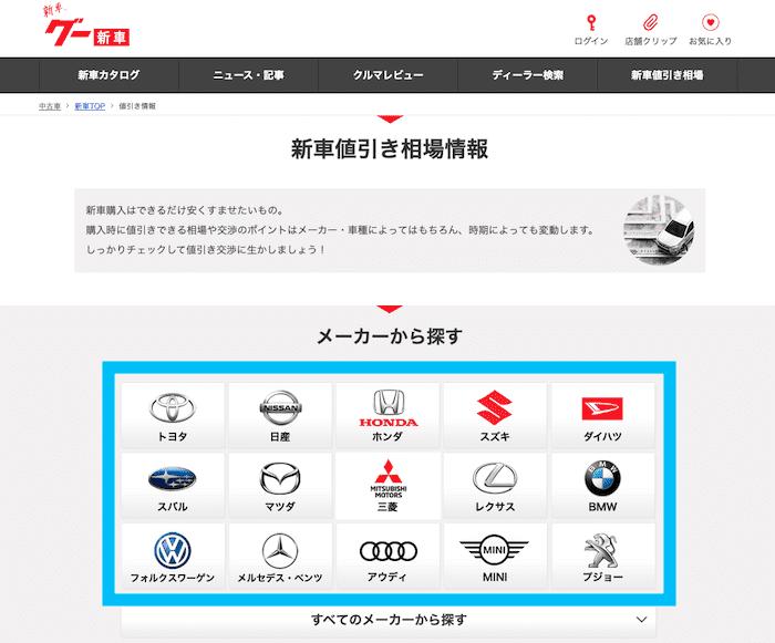 goo 新車値引き情報の表示方法①
