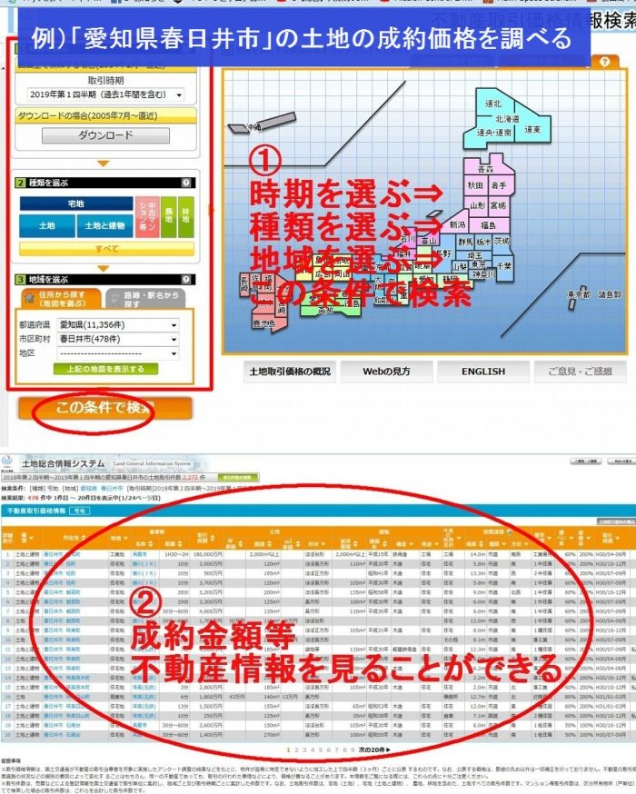 土地総合情報システムで不動産の成約価格を調べる方法