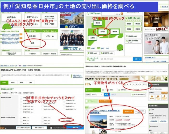 SUUMOで売却物件の売り出し価格を調べる方法