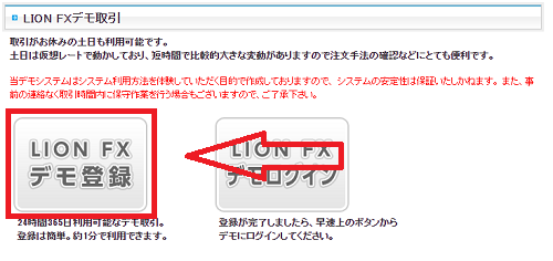 ヒロセ通商(LION FX)のデモ口座の開設方法