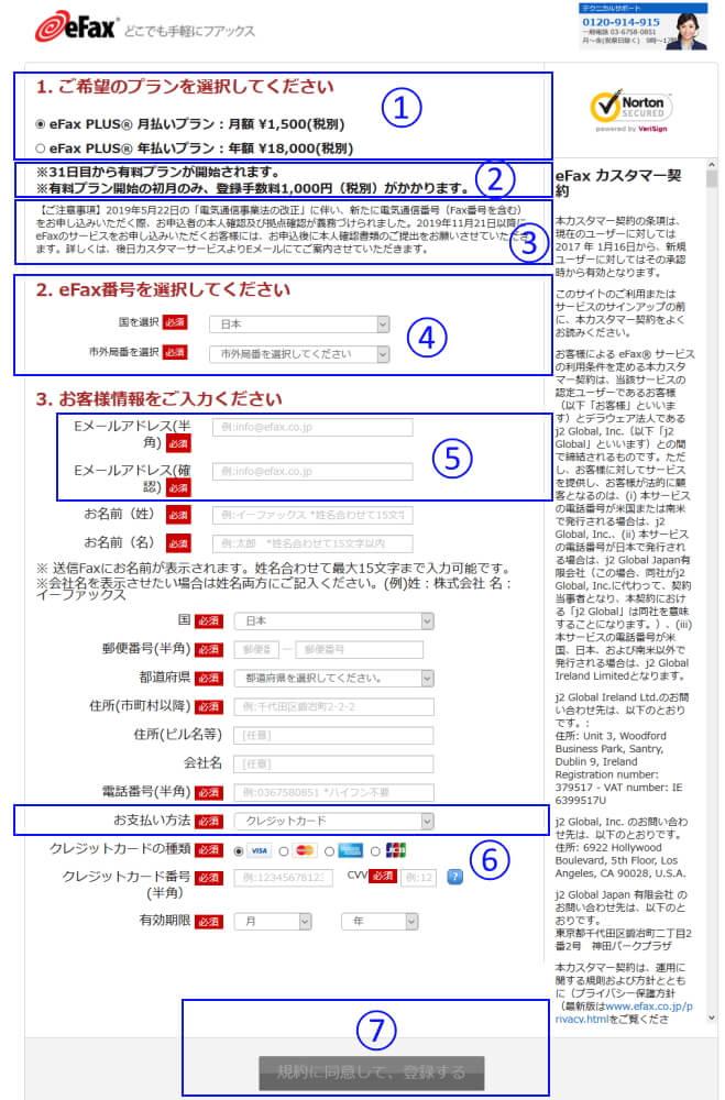 eFaxの利用申し込みページのサムネイル