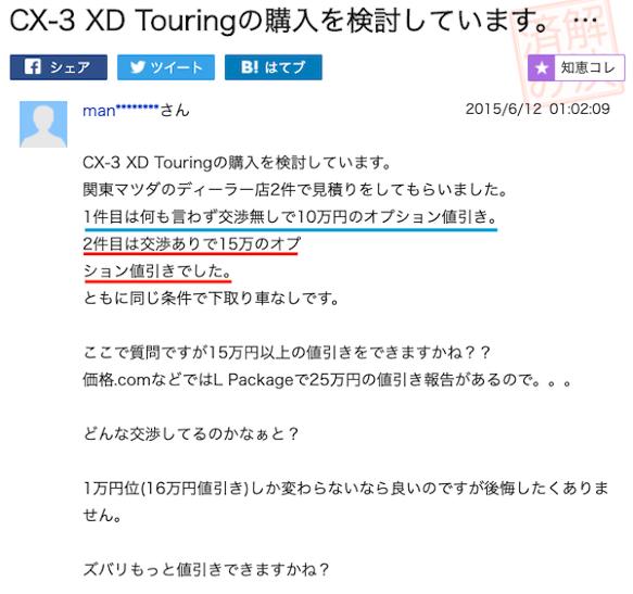 CX-3の値引き事例②